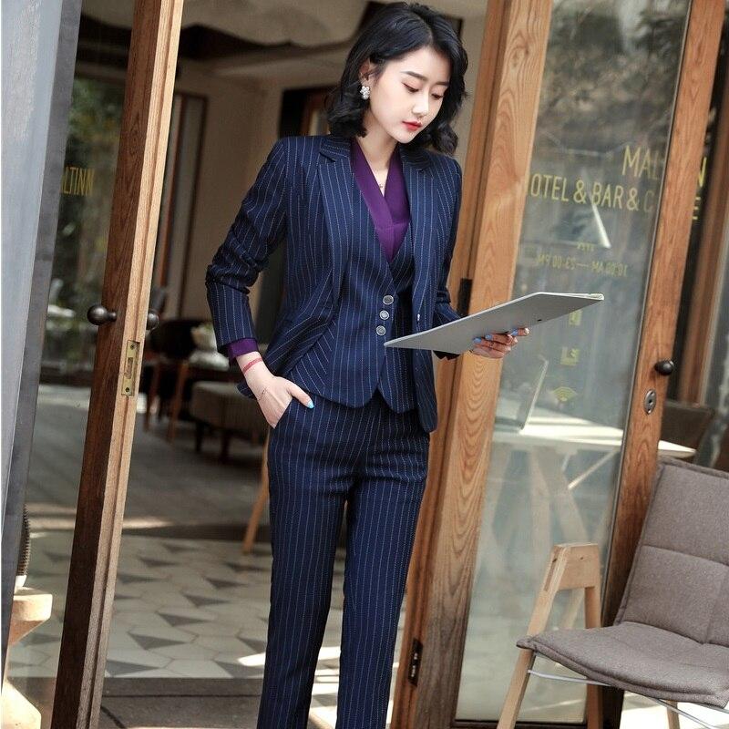 Uniform Designs Pantsuits Formal Blazers 4 pieces Jackets + Pants + Blouses + Vest & Waistcoat Business Sets Striped Plus Size