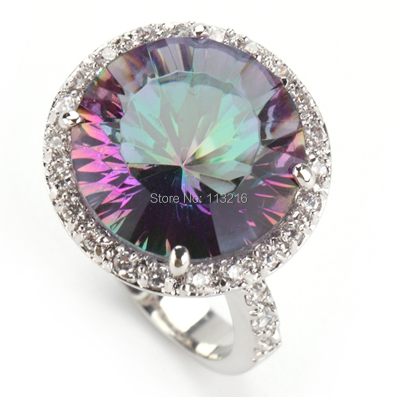 Fleure Esme First class products sumptuous Fashion Rainbow Mystic stone Jewelry Silver Plated Rings classic R735