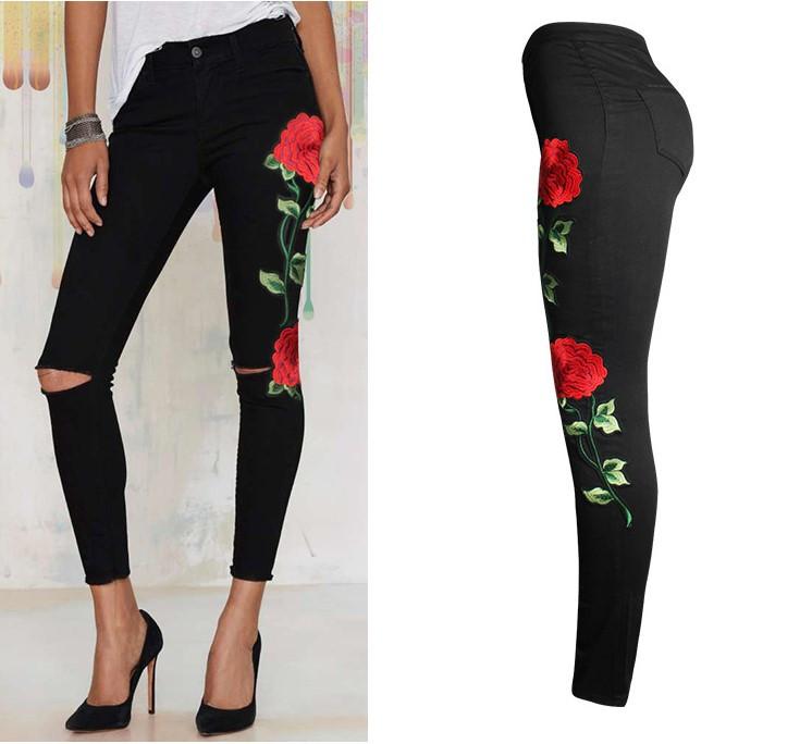 HTB110dLPVXXXXbGaXXXq6xXFXXXS - FREE SHIPPING Women Stretch Embroidery Ripped Jeans JKP247