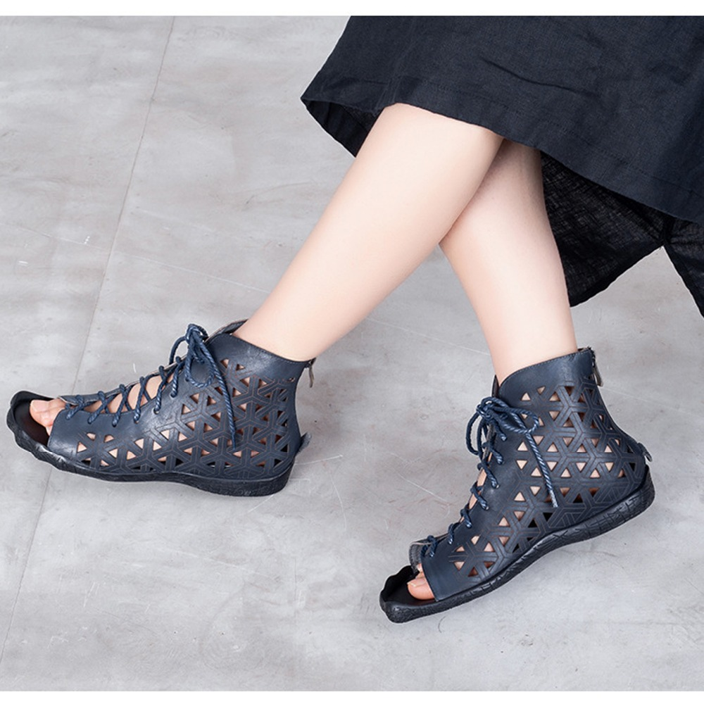 Completo 2019 Retro Suave A Bajos Grano Con Mujeres Tacones Nuevo Cómodo Sandalias De brown Cuero Mano Blue Zapatos Goma Hecho Verano Ocio Las HqxZCEnZ