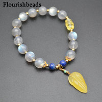 Fine Woman Jewelry Natural Labradorite Lapis Round Beads Carved Amber Leaf Charm Bracelet Gemstone Love Bracelet