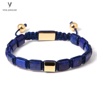 Square Lapis Lazuli Beads Blue Square Beads DIY Fashion Jewelry Adjustable Braiding Bracelet 8mm Lapis Macrame Men Bracelet