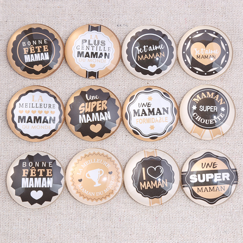 Onwear Mixed Maman Photo Round Glass Cabochon 18mm 20mm 25mm 30mm Diy Flat Back Handmade Jewelry Findings For Keychain Pendant