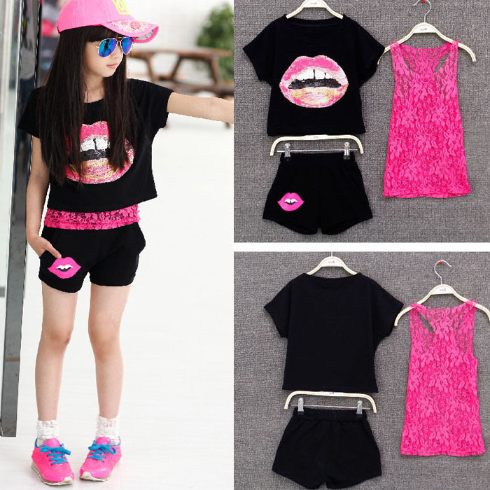 цены 2018 Girls Summer Clothing Set Kids Girls Clothes European Style 3 Pieces Set Lace Tank Top & T-shirt & Pants Sets Summer Style