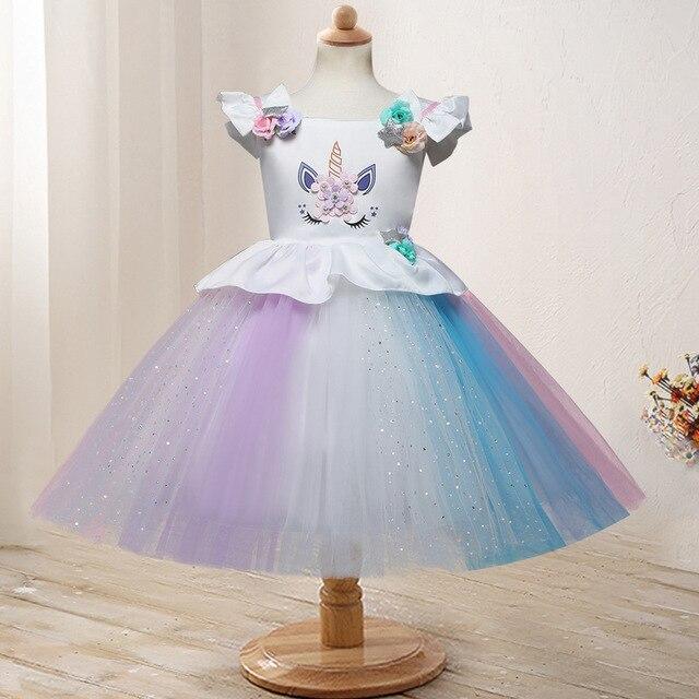 7dd4e2e55 Más nuevo caliente del Vestido unicornio Navidad traje chicas Arco Iris  tutu princesa vestidos de fiesta