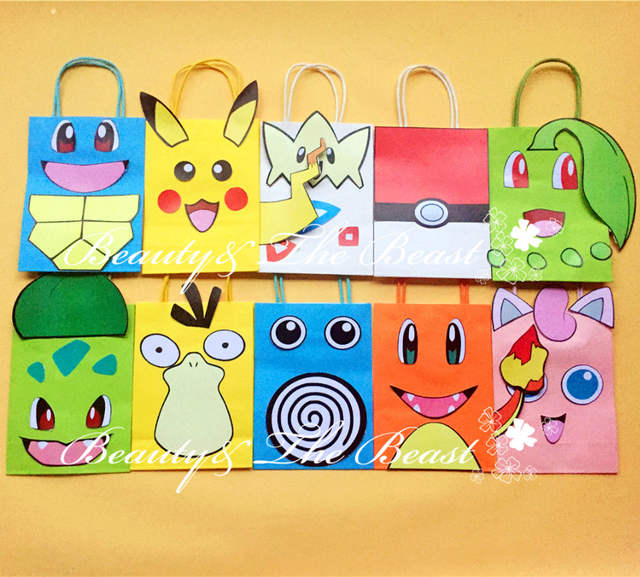 Placeholder Pokemon Go Pikachu Favor Bag Gift Birthday Party Decorations Kids Supplies Baby Shower Candy