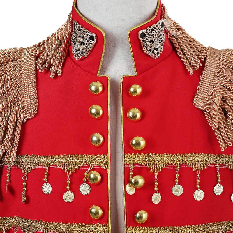 Mens אדום צבאי סגנון גדילים ארוך בלייזר מעיל מועדון לילה DJ חליפה בלייזר גברים קברט קרנבל תלבושת שלב נשף תלבושות מעיל