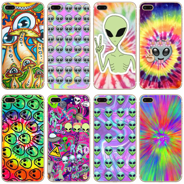 G355 Trippy Tie Dye Peace Sign Transparent Hard Thin Case Cover For