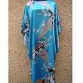 Hot Sale Blue Female Satin Rayon Nightdress Classic Lounge Kimono Gown Casual Bathrobe Printed Flower Home Wear One Size  NS0059