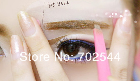 HOT 2014 NEW mini brow class drawing guide 3rd class set (Natural Brow  /Chic Brow / Baby face Brow)(1 pcs/lot)-in Eyebrow Stencils from Beauty &