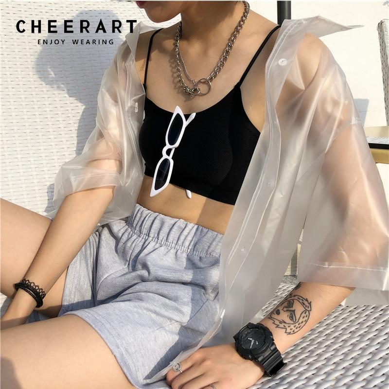Cheerart Rain-Proof Streetwear Transparent Shirt Women Summer Cardigan See Through Tops And Blouses PVC Loose Top Femme 2018(China)