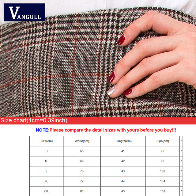 Vangull Pencil Sexy High Waist Plaid Mini Short Skirt 2018 New Casual Women Office Lady Buttoms Zipper Back Autumn Winter Skirts
