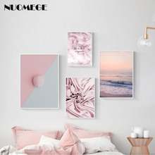 NUOMEGE Nordic Ins Pink Feather Landscape Painting Wall Art Canvas Sweet Romance Poster Print for Girls Room Decoration