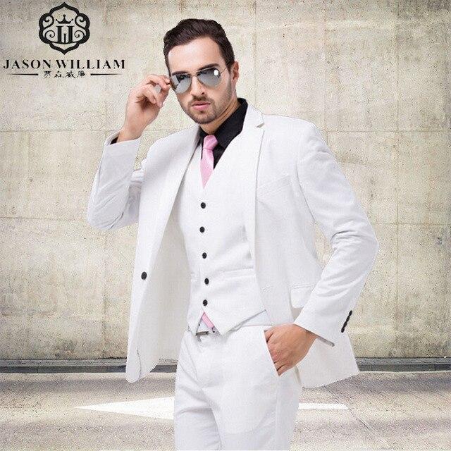 LN008 Italian Luxury Mens White Suit Jacket Pants Formal Dress Men ...