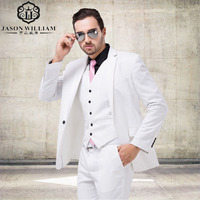Italian Luxury Mens Optic White Suit Jacket Pants Formal Dress Men Suit Set Men Wedding Suit