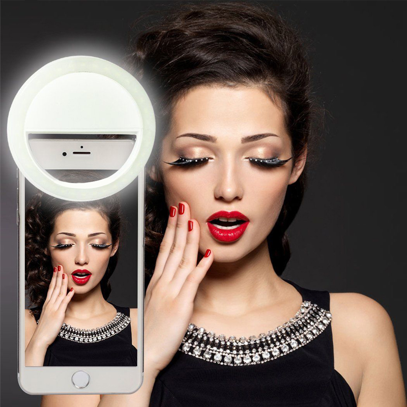Hot Universal LED Photography The Flash Light Up Selfie Ring Luminous Lamp Night Phone Ring For iPhone X LG Samsung HTC LG
