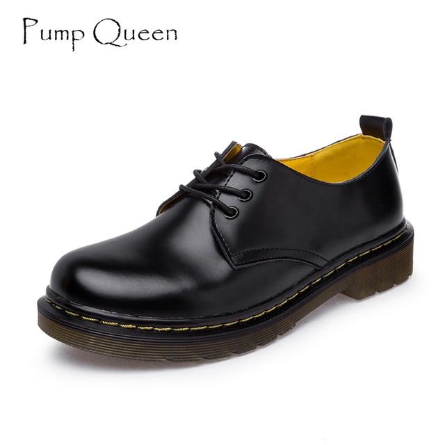 Оксфорд Обувь для женская обувь из коровьей кожи ботильоны Martin Женская повседневная обувь Туфли без каблуков 2018 Демисезонный Кружево на шнуровке Zapatos Mujer