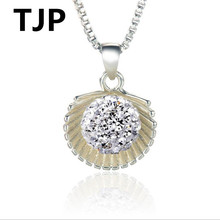 TJP Lovely Scallop Pendants Necklace Female Jewelry Shiny Crystal Balls 925 Silver For Women Wedding  Accessories