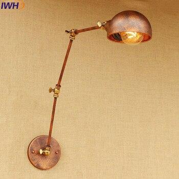 רטרו סגנון לופט תעשייתי מנורת קיר זרוע ארוכה אורות קיר ליד מיטת הבית אדיסון בציר ברזל פמוט קיר תאורה פנימית