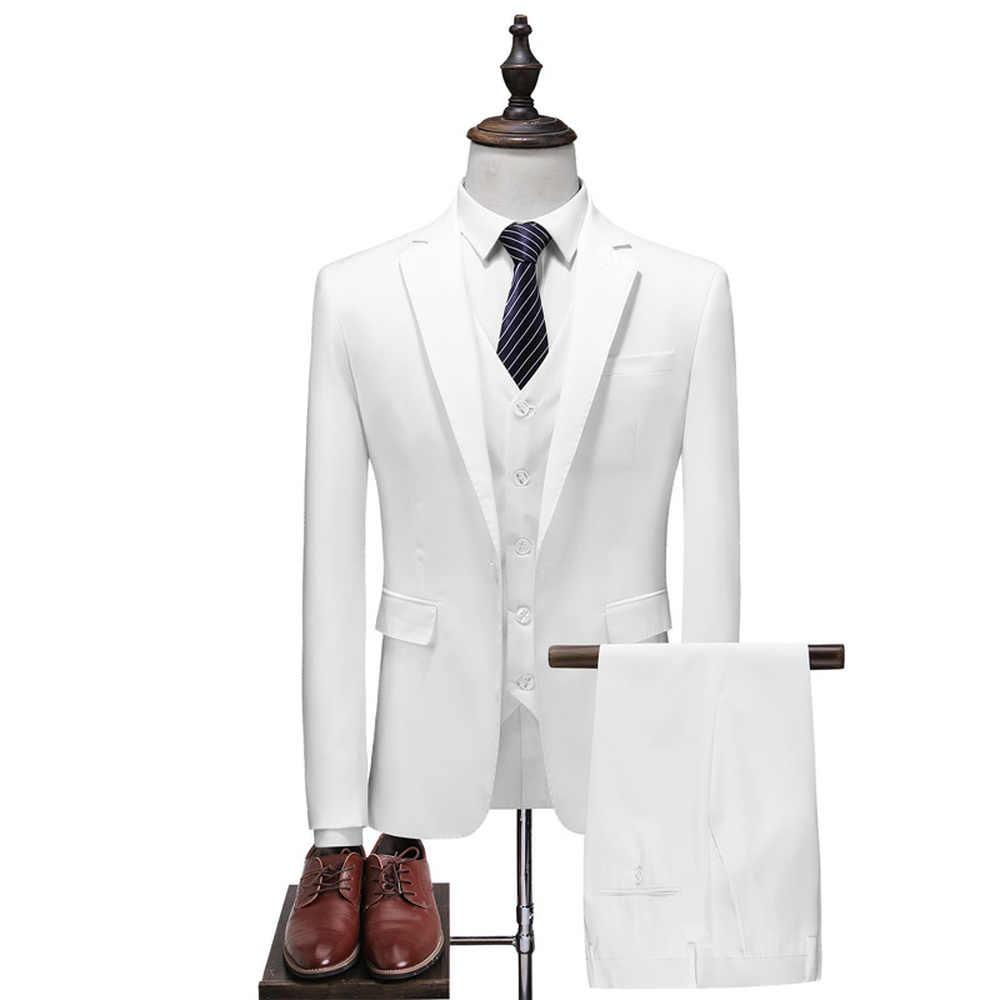 2018 男性のクラシックスーツビジネスカジュアル固体白、青と黒のウェディングドレス男性三ピーススーツ (ジャケット + ベスト + パンツ)
