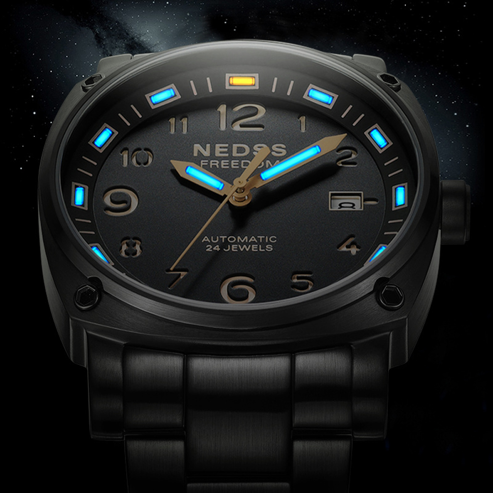 luxury brand NEDSS Swiss H3 tritium luminous seiko automatic mechanical wristwatch steel 50m waterproof business Military Watch цены