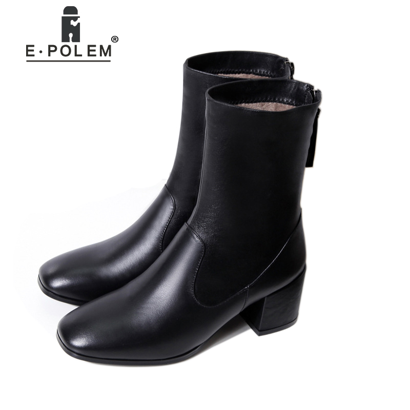 Fashion Genuine Leather Martin Boots Women Zipper Punk Ankle Boots High Heel Winter Velvet Boots Teenage Girls Chelsea Boots ankle strap martin boots pointed ends genuine leather boots thin heel women ankle boots fashion punk style winter boots