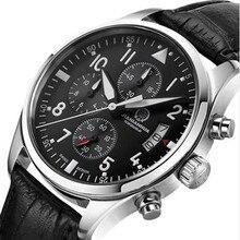 Chronograph stopwatch luminous waterproof military diving running sports luxury brand mens quartz watches genuine leather strap
