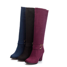 Women Boots 2016 Autumn Winter New Fashion Ladies Sexy Knee High Boots Zipper Long Boots Thick High Heels shoes woman HOT shop