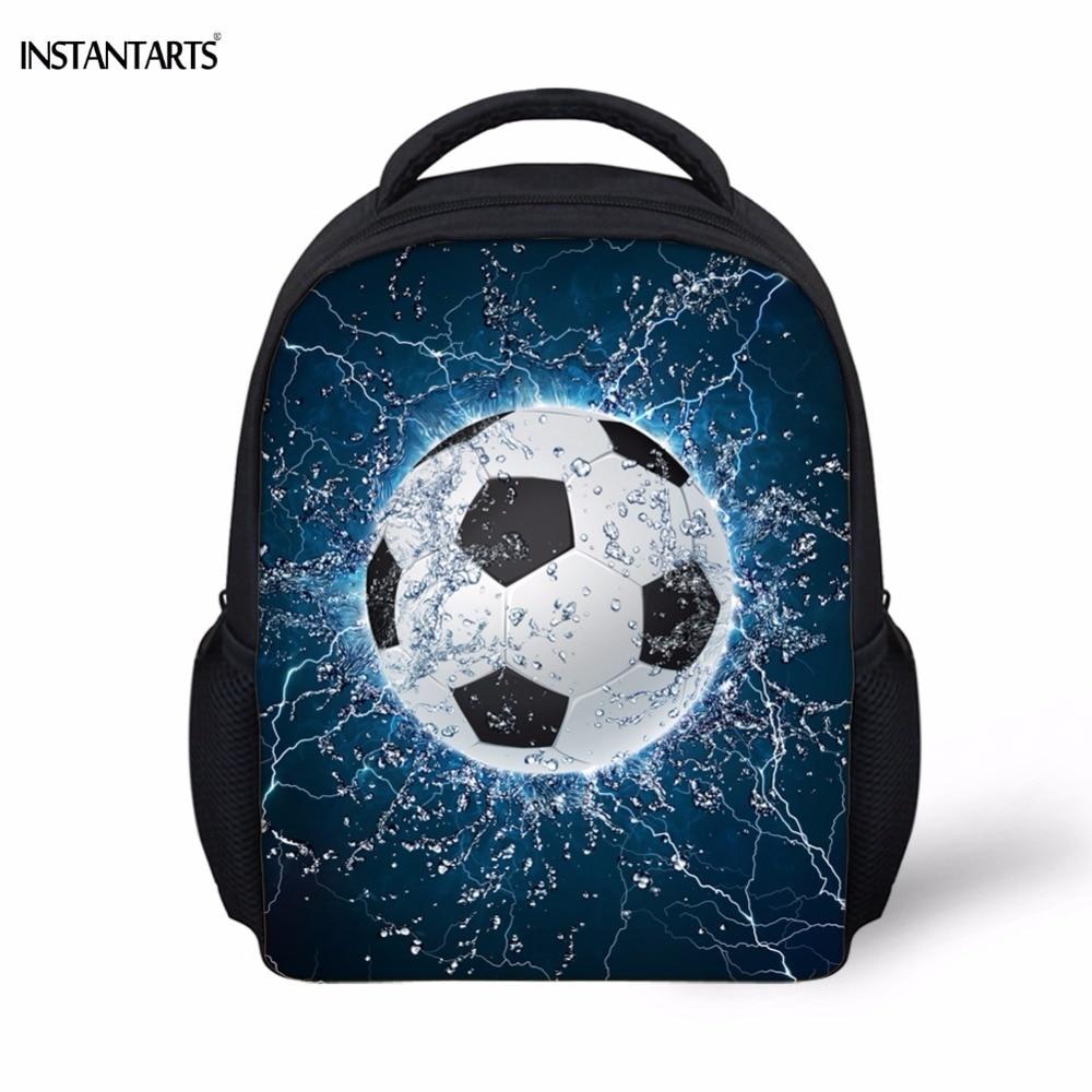 INSTANTARTS Cool 3D Ice Soccerly Ball Printing School Bags For Boys Cute Kindergarten Kids Mini Backpacks Children's School Bag