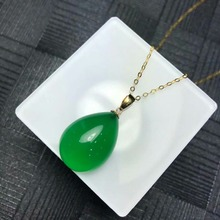 SHILOVEM 18k yellow gold natural green chalcedony pendants  none necklace ethnic new wholesale Fine women gift mymz1318038ys
