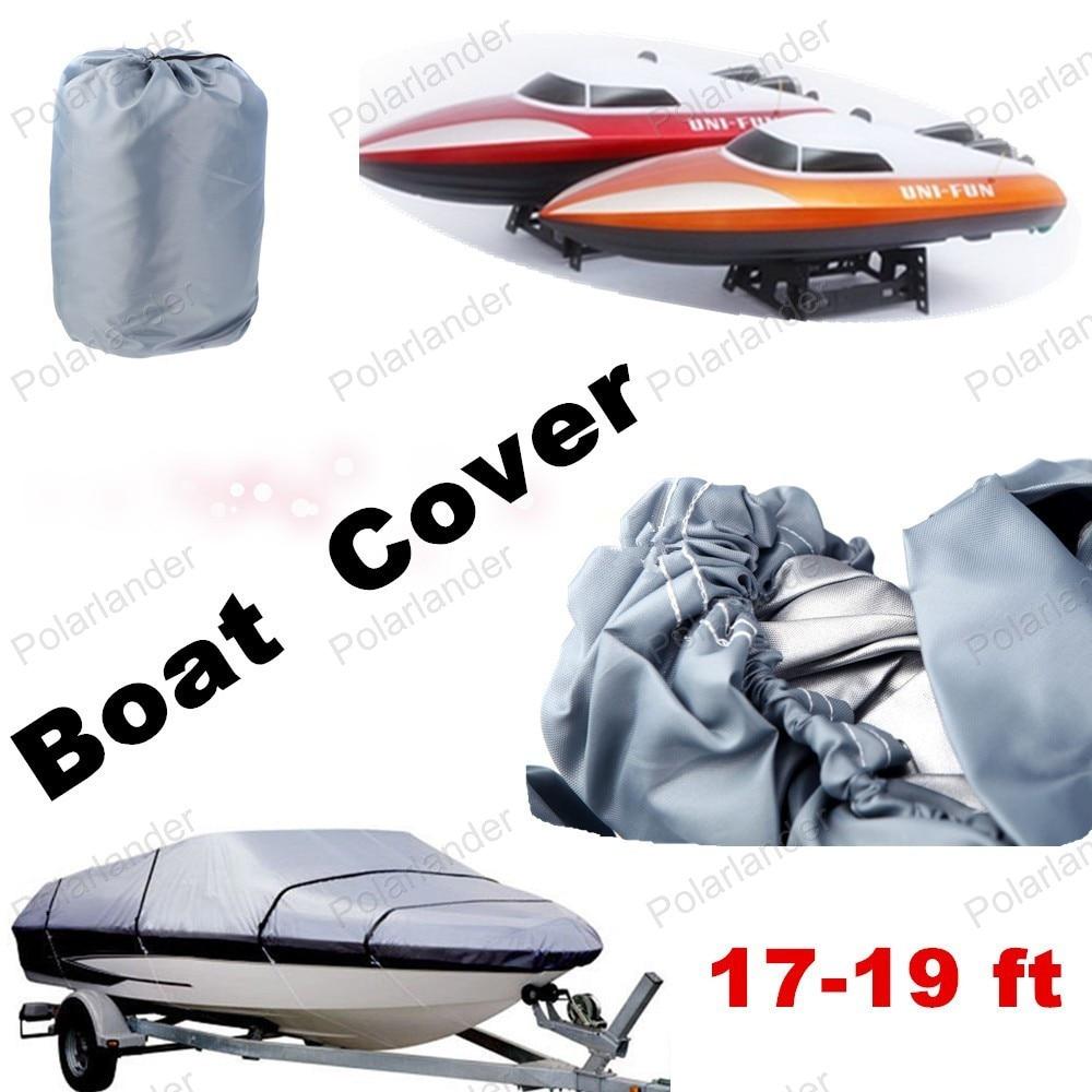 Couverture de bateau imperméable à l'eau vente entière robuste 17 à 19ft avec 210D Oxford couverture pour bateaux Caravana v-coque bateau avec faisceau