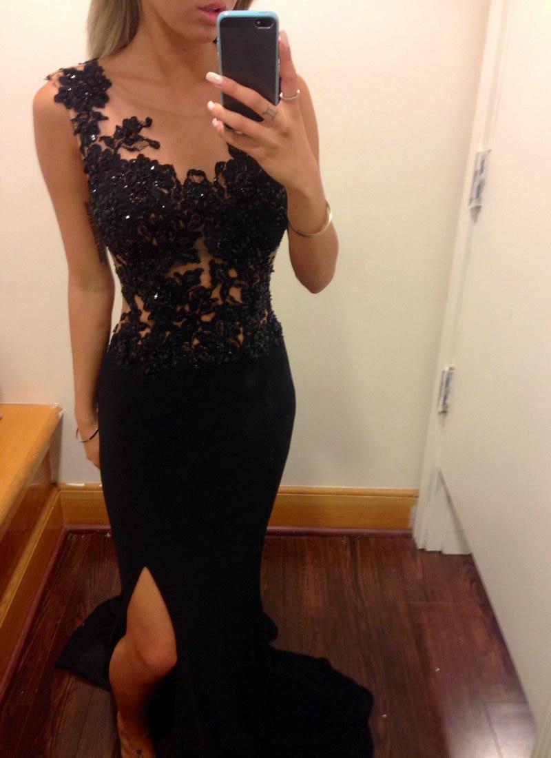 Side slit Special Occassion   Dresses   2015 Sleeveless Black   Evening     Dress   Lace Prom   Dresses   Chiffon Vestidos de Fiesta