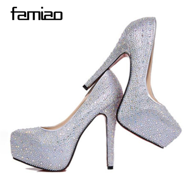 2018 women high heels prom wedding shoes lady crystal platforms silver  Glitter rhinestone bridal shoes thin heel party pump-in Women s Pumps from  Shoes on ... dd18e6c97812