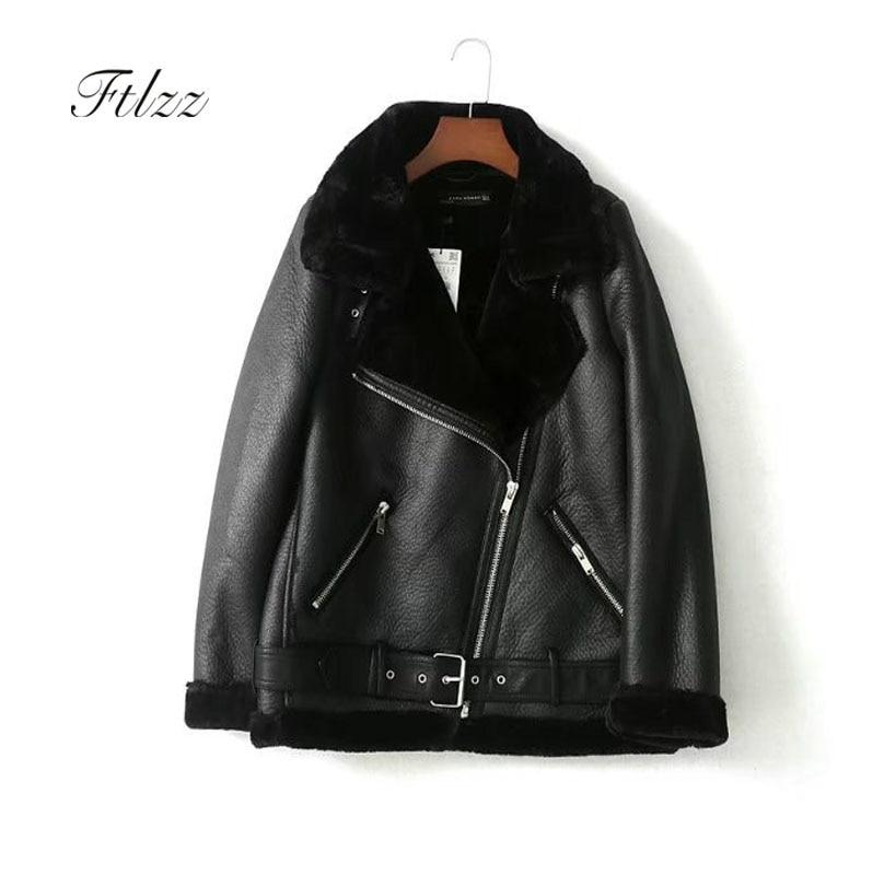 New Women Moto Jacket 2018 Autumn Winter Warm Faux Wool Liner Biker Leather Jacket Ladies Loose