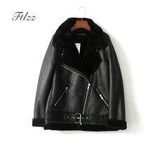 цены на New Women Moto Jacket 2018 Autumn Winter Warm Faux Wool Liner Biker Leather Jacket Ladies Loose Black Coat Female Punk Style  в интернет-магазинах