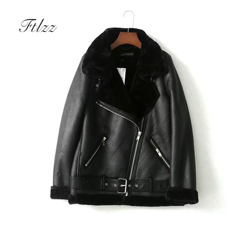 New Women Moto Jacket 2018 Autumn Winter Warm Faux Wool Liner Biker   Leather   Jacket Ladies Loose Black Coat Female Punk Style