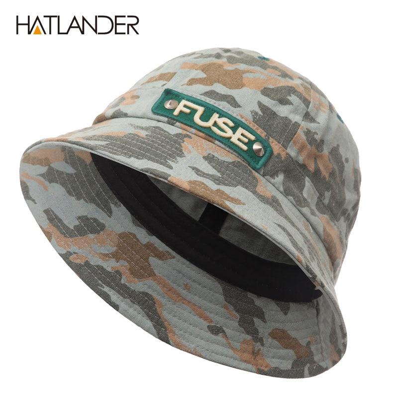 HATLANDER Outdoor Fishing Bucket Hats for men panama women autumn summer  beach sun hat hip hop cap sports camo cotton hat-in Bucket Hats from  Apparel ... 9781e52ac06f