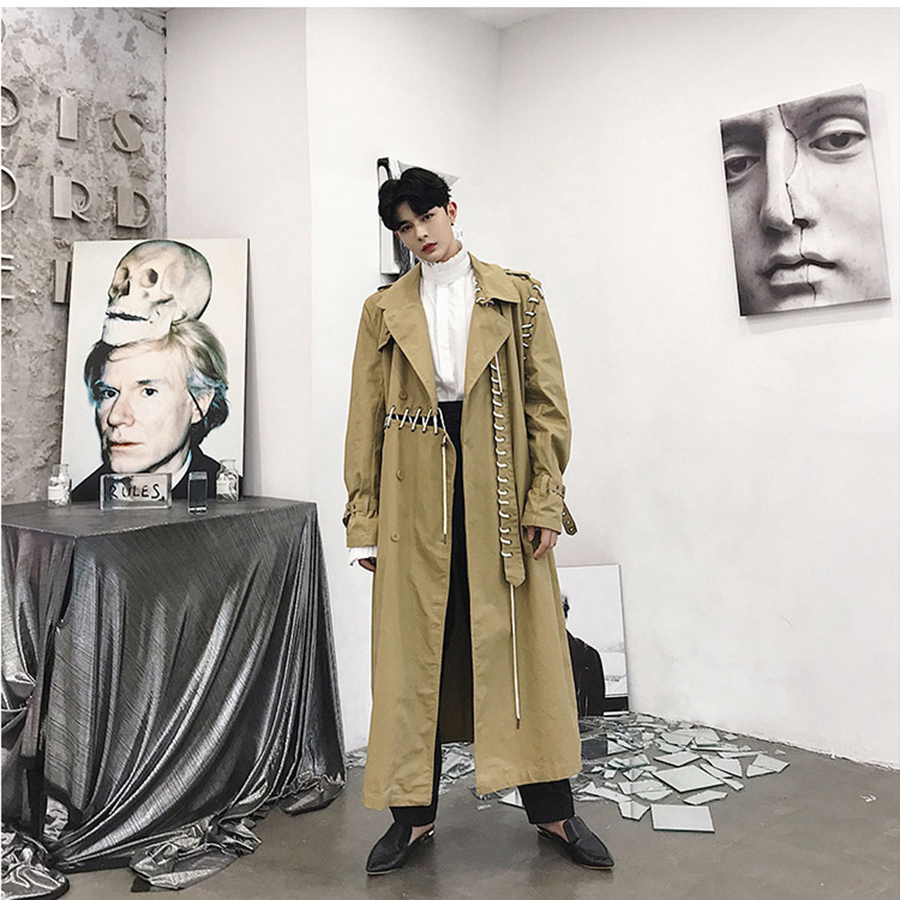 Khaki Trench Coat Men Streetwear Gothic Punk Style Long Jacket Men Overcoat Ribbon Spliced Cardigan Harajuku Male Outerwear