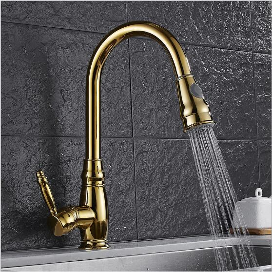 New Design Pull Out Kitchen Faucet Gold 360 Degree Swivel Kitchen Sink Faucet Mixer Tap