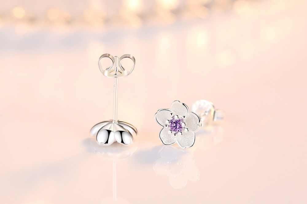 ZRHUA Женские Элегантные 925 пробы Серьги-гвоздики в виде цветка силевра для девочек Подарки на день рождения минималистичные ювелирные изделия оптом женские серьги