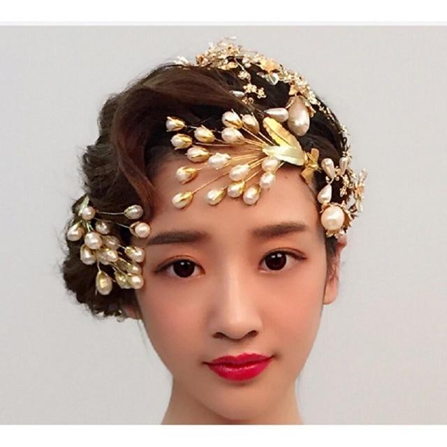 CHENLVXIE One Piece Wedding Prom Party Top Hat Bride Headdress Gold Leaf  Pearl Wedding Veil Wedding Accessorie Bridal Hats 9a730c202ad