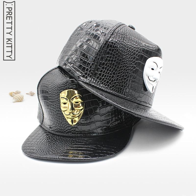 Prix pour JOLIE KITTY PU faux en cuir V Pour Vendetta Snapback Chapeau Osseuse Snap Hommes Hip Hop Casquette de Baseball Plat-à larges bords Chapeau