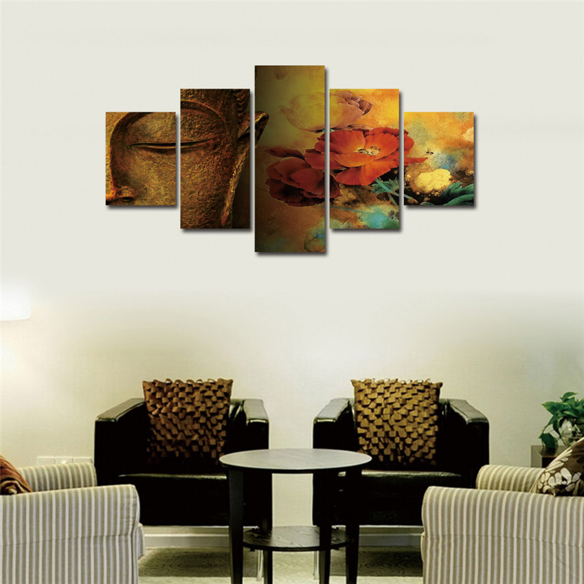 Aliexpress.com : Buy Buddha Canvas Painting Meditation Painting Flower 5Pcs  Wall Art Poster Mordern Wall Pictures For Living Room Posters And Prints  From ...