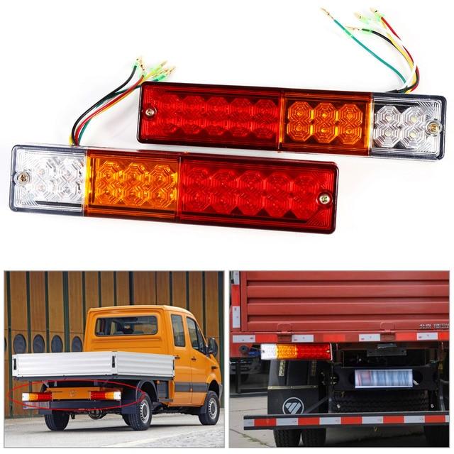 2pcs 12V/24V Trailer Lights LED Stop Rear Tail Brake Reverse Lights ...