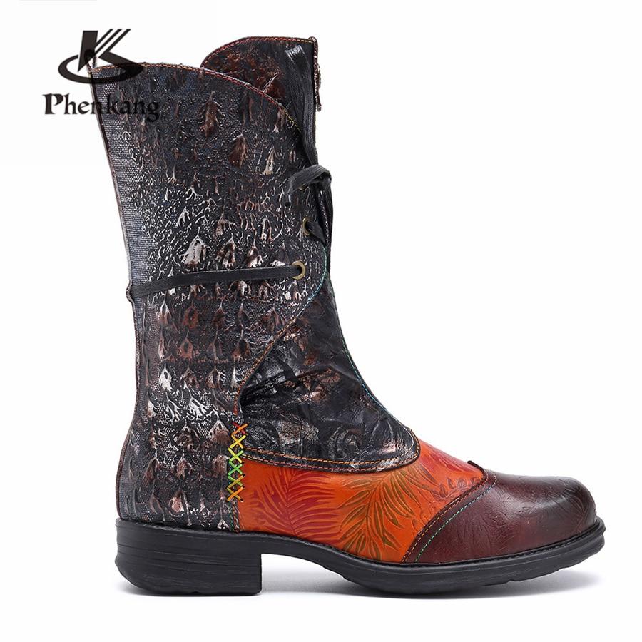 Brown 2019 Brun Cuir D'hiver Bottines La Femmes Printemps Bottes Chaussures Confortables En Véritable Talons Main Épais Cheville À Court tw5UZ6q