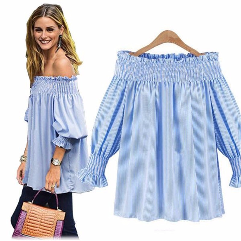 6a3f91677324 Women's Shirt Sexy Off Shoulder Tops Striped Women Blusas Plus Size ...