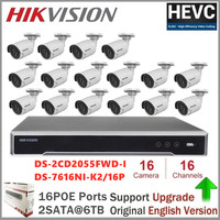 Hikvision 5MP IP Security Camera System 16CH PoE H.265 Embedded Plug & Play 4K NVR & IP Outdoor Infrared Cameras