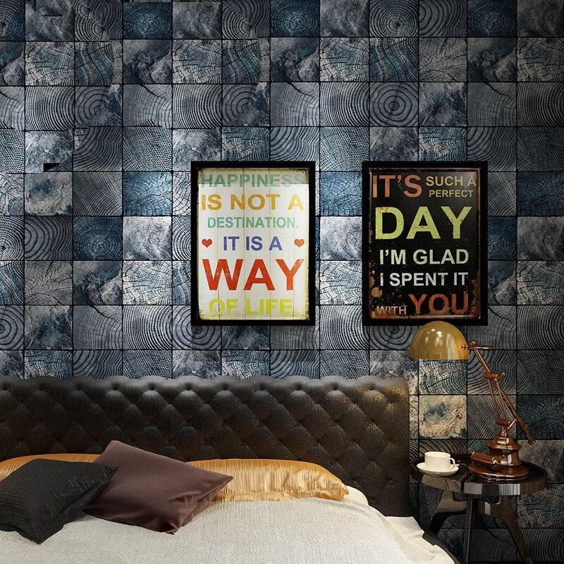 3D Effect Vintage Blue Black Wood Look Mural Wallpaper ...