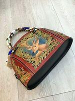 100% Genuine Leather hand carved vintage women bag Italy vegetable tanned leather shoulder bag woman Retro shell Handbag