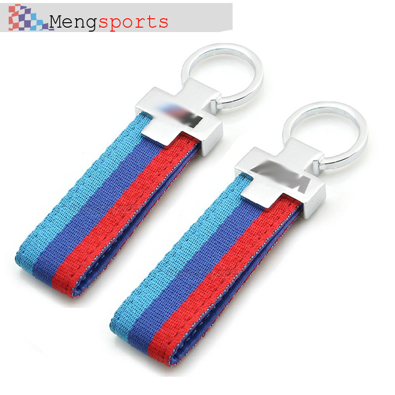 20pcs Blue Red Canvas Metal Keyring Car styling Key Chain with BLack Bag SHIPPING FREE